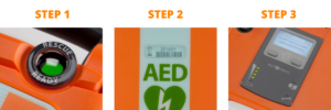 Check your AED with these three steps.